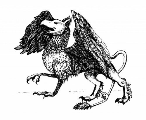 A drawing of a griffin.