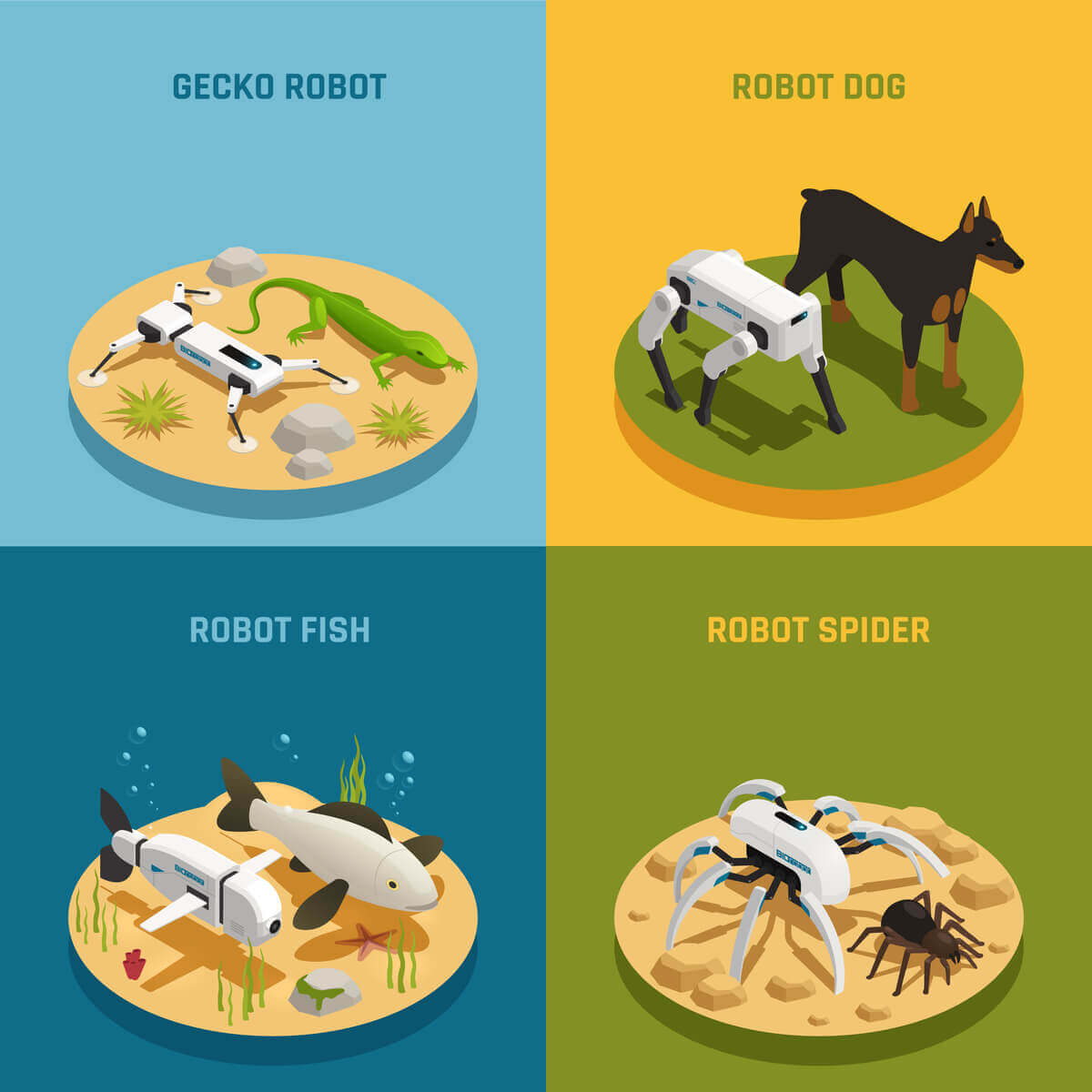 A graphic showing different potential robot animals.