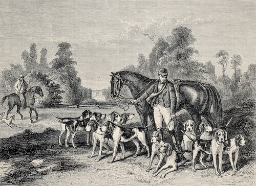 A painting of two horseman and numerous dogs.