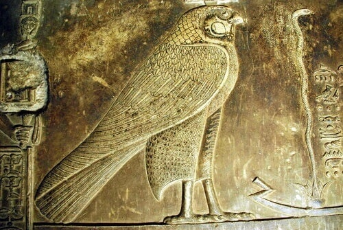 An ancient carving of a falcon.