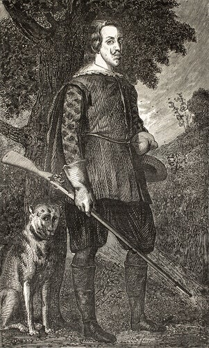 A portrait of a hunter and his dog.