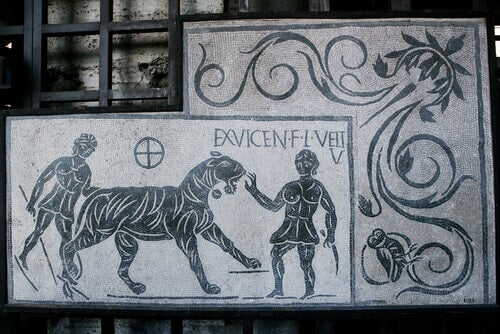 A Roman mosaic of a tiger.